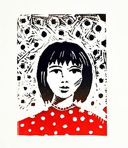 girl linoprint