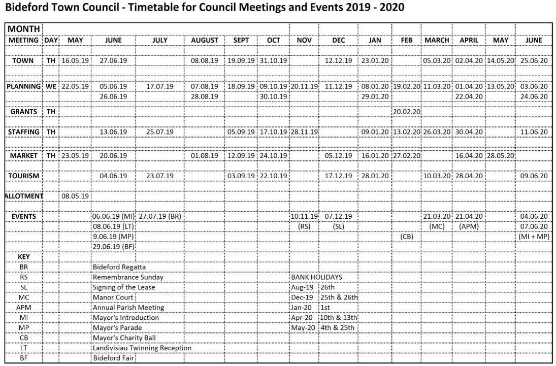 Timetable Meetings 2019 2020 updated