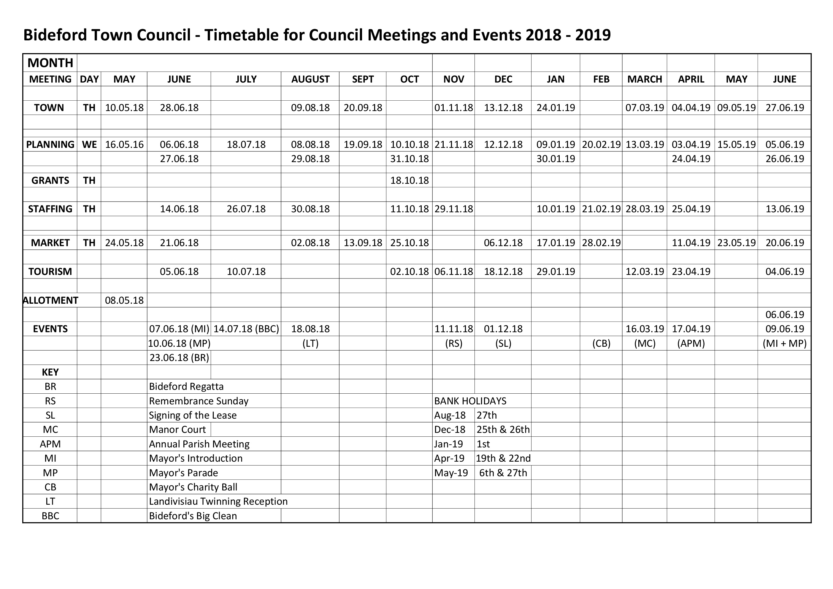 Timetable for Meetings 2018 2019