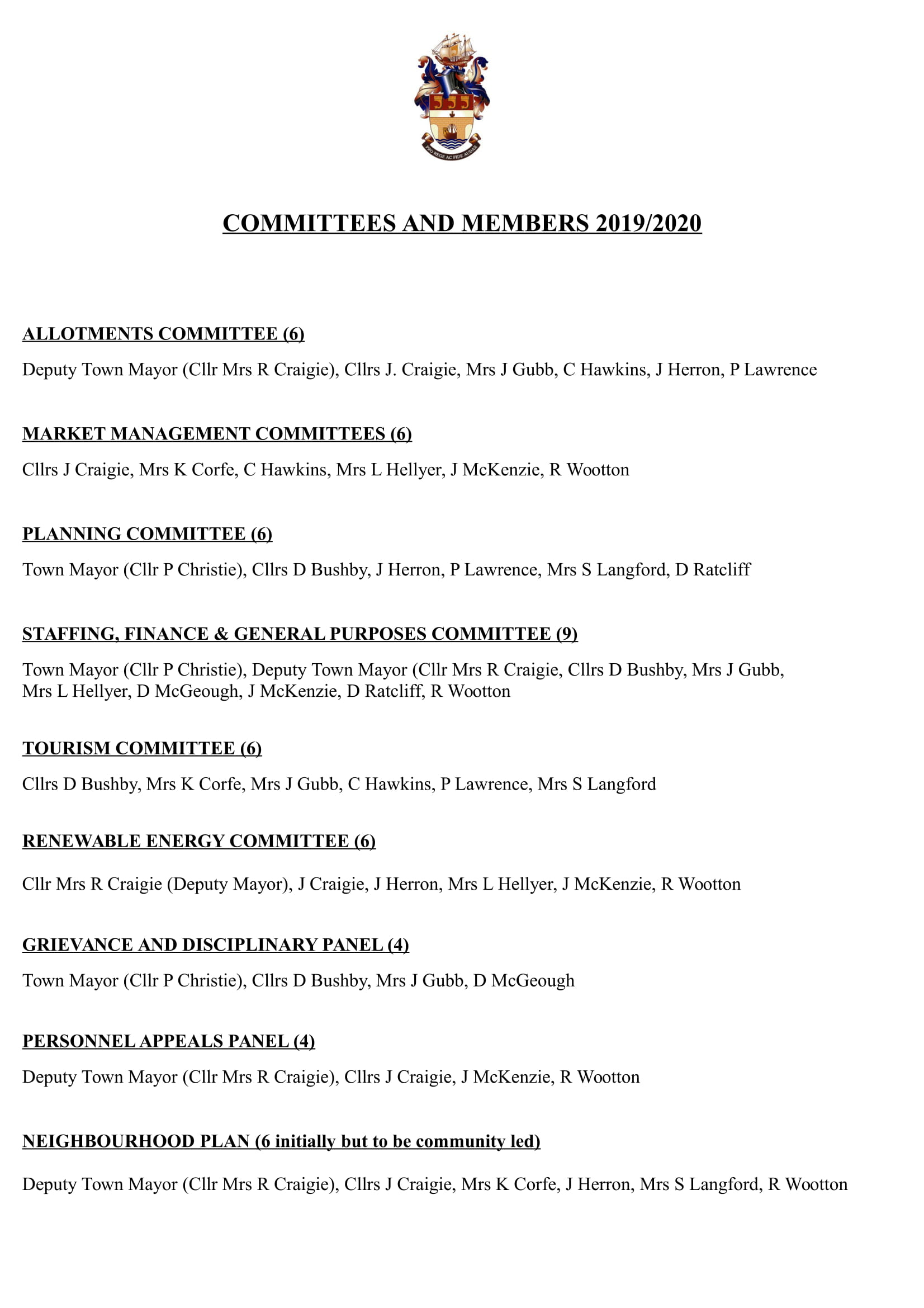 Council Committees and Membership 2019-2020