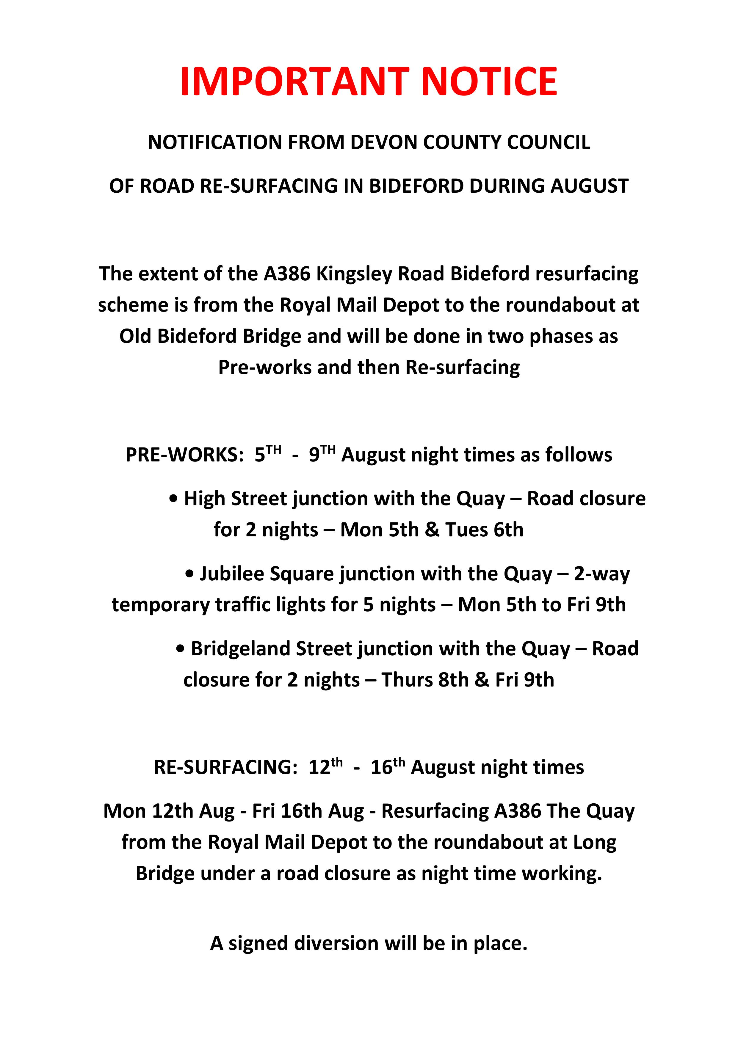 August Road Resurfacing