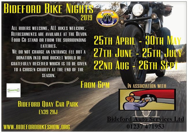 Bideford Bike Nights 2019 Poster