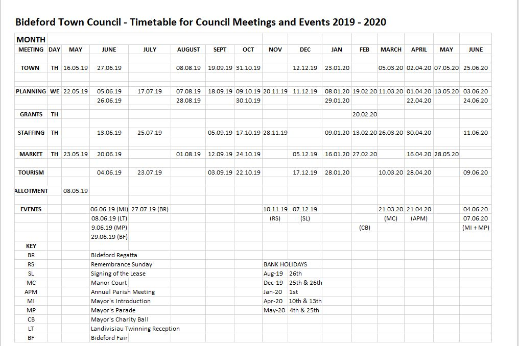 Timetable for Meetings 2019 2020